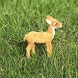 2 Stück Simulation Rehkitz-Figur Deko Miniatur Rehkitz Weihnachten Tag Dekoration Plüsch Puppe Tier Modell Elk Geschenk, Gelb/9x10cm