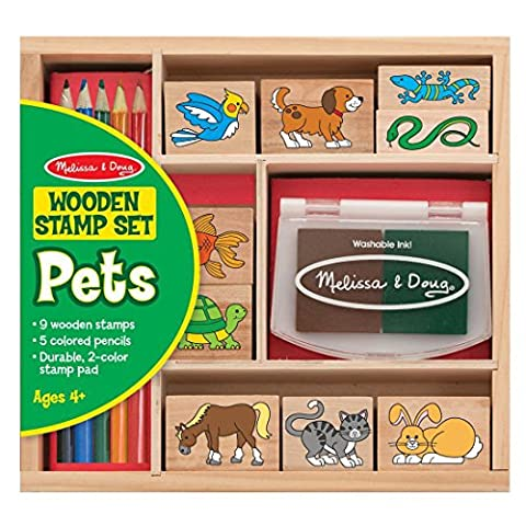 Melissa & Doug Wooden Stamp Set: Pets - 9 Stamps, 5 Coloured Pencils, and 2-Colour Stamp Pad