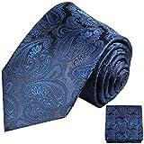 Paul Malone XL Krawatten Set blau paisley 100% Hochzeitskrawatte (extra lang 165cm) + Einstecktuch