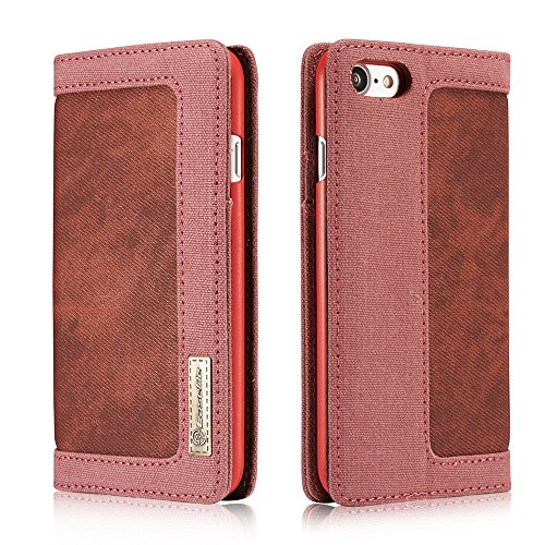 C-Super Mall-UK Apple iPhone 7 Plus hülle,Upscale Denim Segeltuch Malerei Abdeckung Magnetisch Schnalle Brieftasche Stehen Flip hülle für Apple iPhone 7 Plus red