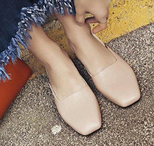 Clogs & Maultiere Hochzeit Square Toe Chunky Mid Heel Pure Farbe Limited Edition Damen Freizeitschuhe EU Größe 34-39 apricot