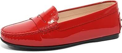 Tod's B1637 Mocassino Donna Scarpa Rubino Vernice Loafer Shoe Woman