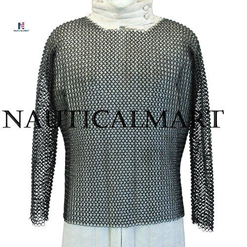 Ritter Mittelalter Kettenhemd Full Sleeve geschwärzt Kettengeflecht groß nauticalmart