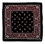 Schwarz Rot Weiß Paisley Muster Kopftuch Bandana Halstuch