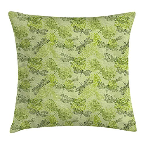 Pillow case Sketchy Butterfly Like Bugs with Floral Ivy Print Wings Artwork Throw Pillow Covers 20x20 Inches ()