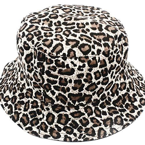 Hemotrade 100% Baumwolle Packable Summer Travel Leopard Bucket Hat Packable Bucket