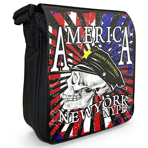 Fancy A Snuggle, Borsa a tracolla donna Totenkopf amerikanische Polizeimütze NYPD