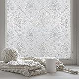 fancy-fix selbsthaftende und statische Fensterfolie mit Blumen-Motiv - UV-Schutz & Sichtschutz - Milchglasfolie zur Dekoration und Schutz der Privatsphäre (45 x 200 cm)