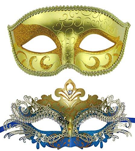 Paar venezianischen Maskerade Maske gesetzt Luxus-Stil Prinzessin Party Maske (Gold + Gold-Blau) (Masquerade Kleid Schwarz Mit Blau)