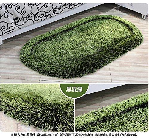 Dicke Matten einfach Stretch Block ovalen Wohnzimmer Teppich 50 * 80cm,Schwarz und grün -
