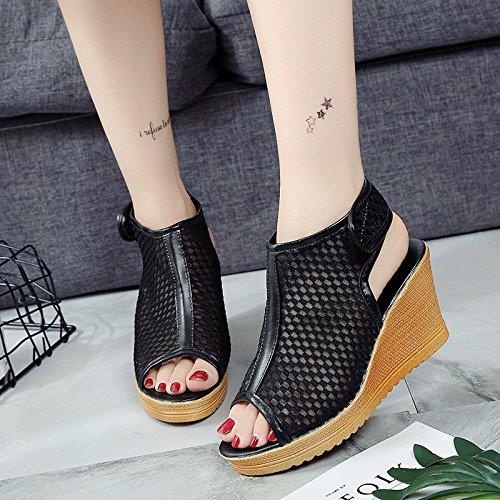 Lgk Et Fait Des Sandales D'été Xia Petites Sandales Avec Des Chaussures À Talons Hauts Chaussures De Bouche De Poisson Bottes Fraîches. Noir