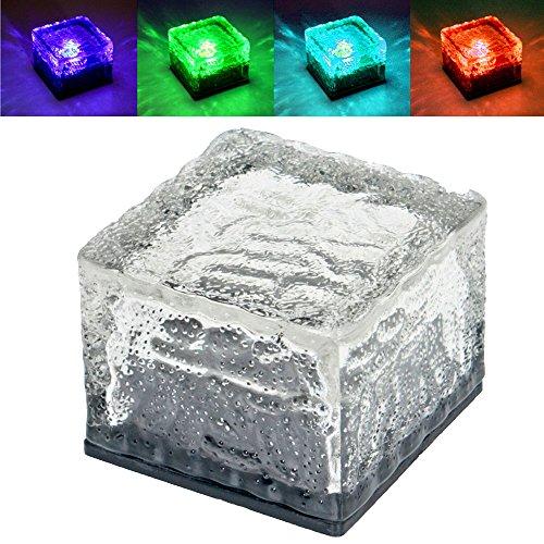 12er Set RGB LED Solar Leuchten Außen Bereich Hof Glas Stein Würfel Farbwechsel