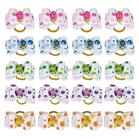 Eflio (TM) 50pcs / lot Dots Mignon Imprimer Perles Chien Chat cheveux Bows Toilettage Accessoires