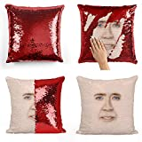 Nicolas Cage Face Sequin Pillow, Oreiller, Sequin Pillowcase, Taie d'oreiller, Two Color Pillow, Fift for Her, Gift for Him, Pillow, Magic Pillow, Mermaid Pillow Cover, Cadeau de Noël
