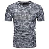 VEMOW Top Selling Fashion Herren Sommer Casual Täglichen Außerhalb SOID Loch V-Ausschnitt Pullover T-Shirt Top Bluse Pulli Tees(Schwarz, EU-58/CN-XL)