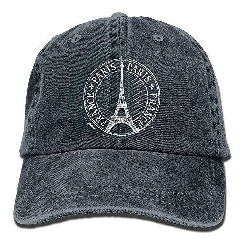 Preisvergleich Produktbild uykjuykj Caps Hats Paris Eiffel Tower StampUnisex Baseball Cap Style Hat Cotton Denim Cap Adjustable Unique Personality Cap Baseballmütze
