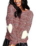 Landove Maglione Invernale Donna Girocollo Pullover Ragazza Tumblr Moda Magliette Stampate Cuore Maglioni in Maglia Camicie Bluse Oversize Maglia Manica Lunga Elegante Sweater Knit Top Tinta Unita