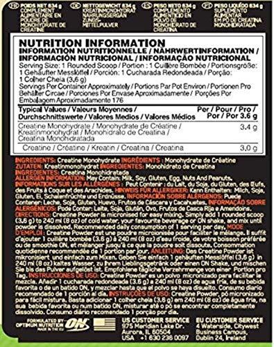 Optimum Nutrition Micronised Creatine Monohydrate- Kreatin-Monohydrat Pulver (hergestellt für Muskelaufbau von ON), Unflavoured, 176 Portionen, 634g - 2