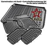 AME Set - Auto-Gummimatten Fußmatten mit Schmutzrand, Geruch-vermindert, Anti-Rutsch Oberfläche und Befestigungskit + Kofferraum-Wanne, Schutzmatte für den Laderaum 201007RG+230625KW