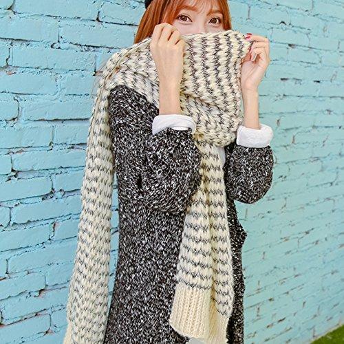 feieb Bavaglia sciarpa invernale coppie ma AEE maglia sciarpe a maglia coreana di spessore caldo a universale, uomini e donne nero su filo bianco