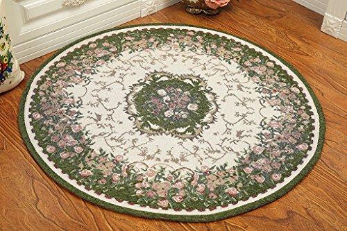 Global- Europäische-Stil Pastoral Runde Teppiche, Pflanze Blumen Kissen Teppich Blended Material Büro Studie Couchtisch Wohnzimmer Teppich ( größe : Diameter 160cm ) (Blume Teppich Runde)
