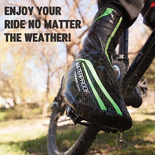 West Biking - Copriscarpe impermeabili da ciclismo, caldi, misura M/L, colore: Verde/Rosso GreenL