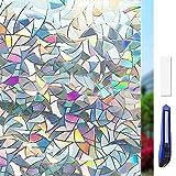 Fensterfolie 3D Sichtschutzfolie Fenster Statisch Folie Selbsthaftend Sichtschutz Glasfolie Statisch Haftend UV-Schutz ohne Kleber Dekofolie 45 x 200 cm
