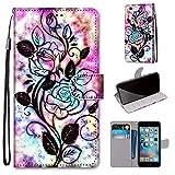 Miagon Flip PU Leder Schutzhülle für iPhone 6S / 6,Bunt Muster Hülle Brieftasche Case Cover Ständer mit Kartenfächer Trageschlaufe,Blume Blatt -