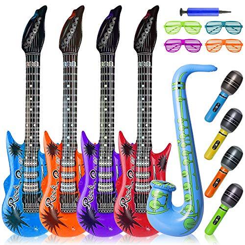 14 stück Aufblasbare Gitarre Luftgitarre Aufblasbar, Saxophon Aufblasbar Mikrofon Musikinstrumente Kinder Party Requisiten Dekorationen Favor Zubehör, Aufblasbare Rockstar manuelle luftpumpe Set