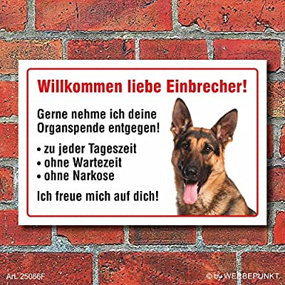 """Vorsicht """"Willkommen"""", Schäferhund, Hund, Schild, Hinweis, 3 mm Alu-Verbund Motiv 2"""
