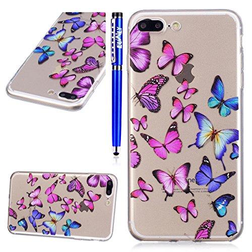 EUWLY Cover per iPhone 7 Plus/iPhone 8 Plus (5.5),Bello Dipinto Immagine Disegno Silicone Custodia per iPhone 7 Plus/iPhone 8 Plus (5.5),Shock-Absorption Bumper e Anti-Scratch Protettiva TPU Soft Si Farfalla Blu Rosa