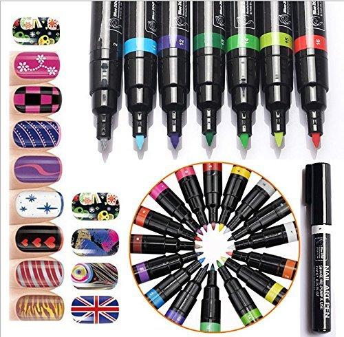 3d Nail (Biutee Model 16 Farben Nail Art Stift Malerei Design 3D Nail Art Dekoration Malerei Werkzeug Nagellackstift Pen)