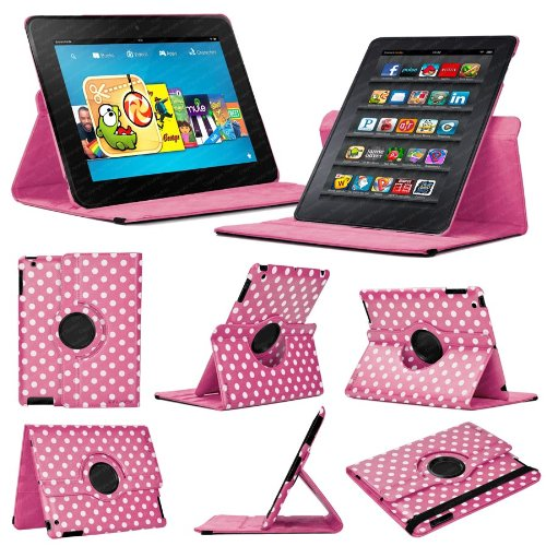 Stuff4 mr-kfhdx8.9-l360-pd-dpw-sty-sp Polka Dot Design Leder Smart Fall mit 360 ° Drehbar Action und gratis Displayschutzfolie/Stylus Touch Pen für 22,6 cm Kindle Fire HDX 8,9 – Deep Pink/Weiß