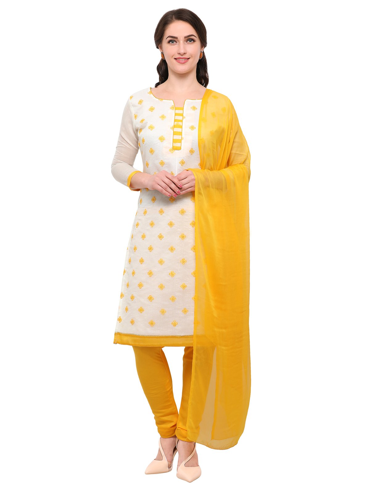 KANCHNAR Women's Cotton Unstitched Dress Material(623D1003 Off White Free Size)