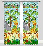 Kinder Vorhänge für Kinderzimmer 100% Baumwolle, 155 x 155 cm (blauer Dschungel)