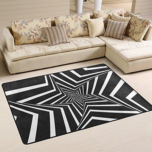 yibaihe leicht bedruckt Bereich Teppich Teppich Fußmatte Dekorative Schwarz und Weiß geometrische Figuren wasserabweisend leicht zu reinigen für Wohnzimmer Schlafzimmer, 183 x 122 cm (Figuren Aztec)