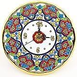 Art Escudellers Orologio/Orologio A Parete Modello 14, Orologio Decorativo di Ceramica da Parete Dipinto a Mano con la Tecnica cuerda seca Oro 24 K (Carati). 21,5cm di Diametro.
