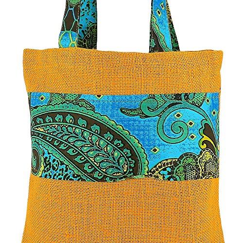 Vielzweck Mini-Einkaufstasche, Farbiger Jute, Naturfaser-Eco Frienly, Non Woven Innenfutter, Pflegeleicht Waschbar, Multi-22