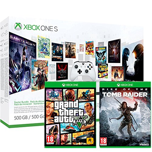 Pack Xbox One S 500Go 3M Game Pass + 3M LIVE + GTA V + Rise of the Tomb Raider