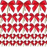 Sumind 48 Pezzi Fiocco di Natale Rosso Nastro Fiocco Albero di Natale, Ghirlanda di Natale, Decorazione (3 Taglie Assortiti)