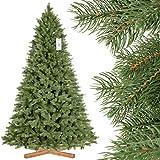 FairyTrees Artificiale Albero di Natale Abete Reale Premium, Mix di Materiali tra pressofuso e PVC, incl. Supporto in Legno, 220cm, FT18-220