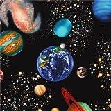 Schwarzer Weltraum Stoff mit Planeten Timeless Treasures