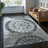 PHC Teppich Klassisch Gemustert Kreis Ornamente in Grau Schwarz Meliert, Grösse:80x300 cm
