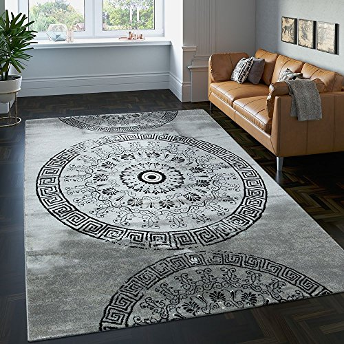 Paco home tappeto classico lavorato cerchio ornamenti grigio nero screziato, dimensione:200x290 cm