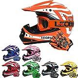 Leopard LEO-X17 Kinder Motocrosshelme Mädchen Jungen Schutz Rennen Bike Motorradhelm + Handschuhe + Brille | Orange L (53-54cm)