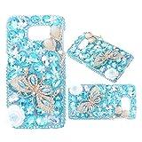 Diamante a forma di farfalla evtech di colore blu con motivo floreale con Strass di cristallo rigida snap-on caso Samsung Galaxy, Muster-1, Samsung Galaxy S6