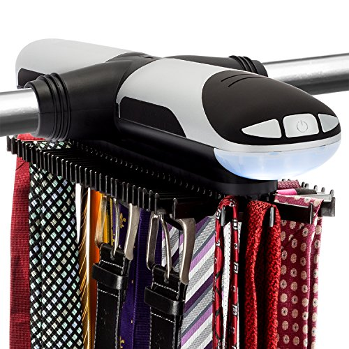 Sterline Automatische Motorisierte Revolving Krawattenhalter und Gürtel mit LED-Licht Built-Rack - Tie Rack dreht sich vorwärts und rückwärts - Hält 72 Krawatten und 8 Gürtel - Batterien enthalten sind