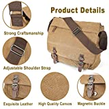 Mens Canvas Shoulder Messenger Bag,Aizbo Crossbody Day Bag Laptop Bag Satchel Bag for 15 Inches Laptop