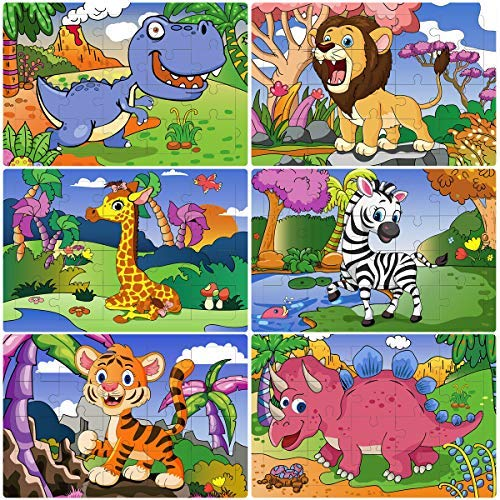 Puzzles Pädagogisches Spielzeug Puzzle Jigsaw Puzzles Set 6-In-1-Box Vorschule Puzzles Kinder Puzzle Lernspielzeug (Wilde Tiere) ()