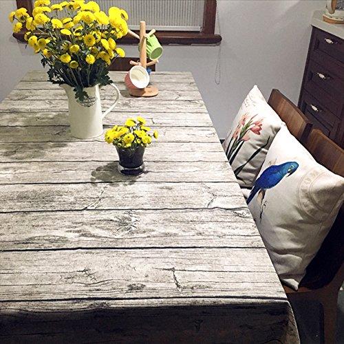 Toechmo - Mantel rectangular, lino, rectangular, lavable, estilo vintage, algodón, Madera, 36...